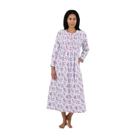 La Cera Wildflower Print Flannel Nightgown