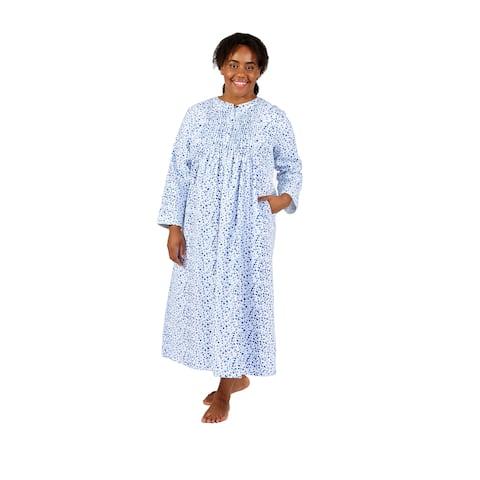 La Cera Forget Me Not Print Plus Size Flannel Nightgown