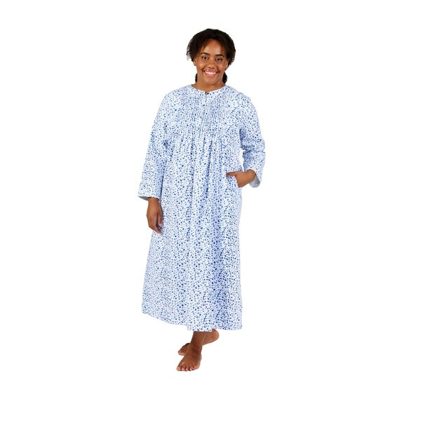 La Cera Forget Me Not Print Plus Size Flannel Nightgown