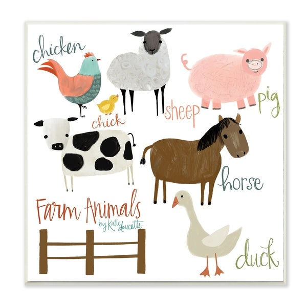 The Kids Room By Stupell Cow Pig Sheep Horse Chicken and Duck Farm Wood Wall Art, 12x12, Proudly Made in USA