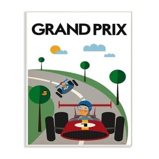 The Kids Room By Stupell Green Orange Blue and Red Grand Prix Race Cars Wood Wall Art, 10x15, Proudly Made in USA - Multi-color