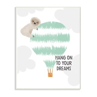 The Kids Room By Stupell Blue and Grey Hang On To Your Dreams Sloth Wood Wall Art, 10x15, Proudly Made in USA - Multi-color