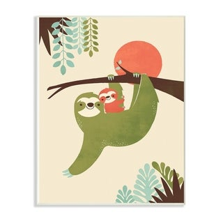 The Kids Room By Stupell Sloth Family Minimal Green Blue Brown and Red Wood Wall Art, 10x15, Proudly Made in USA - Multi-color
