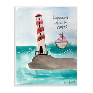 The Stupell Home Decor Collection Happiness Comes In Waves Lighthouse Wood Wall Art, 10x15, Proudly Made in USA - Multi-color