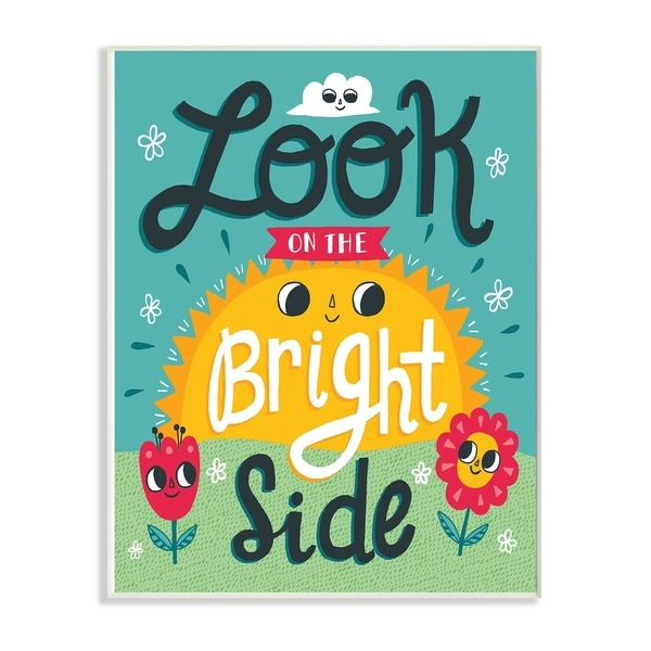 The Kids Room By Stupell Sun and FlowersLook On The Bright Side Wood Wall Art, 10x15, Proudly Made in USA - Multi-color