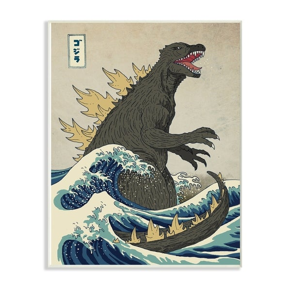 The Stupell Home Decor Collection Godzilla in the Waves Eastern Poster Style Wood Wall Art, 10x15, Proudly Made in USA