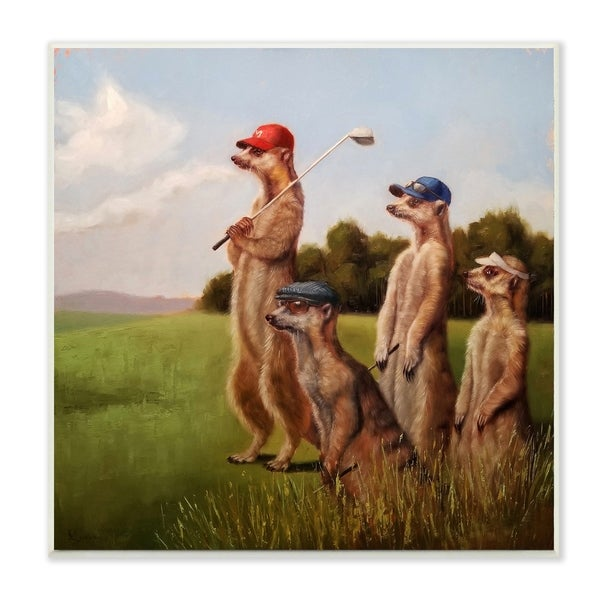 The Stupell Home Decor Collection Meerkats Playing Golfand Sunglasses Wood Wall Art, 12x12, Proudly Made in USA - Multi-color