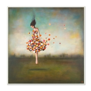The Stupell Home Decor Collection Dress Made of Flowers in an Abstract Landscape Wood Wall Art, 12x12, Proudly Made in USA