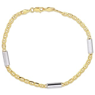 Miadora 2-Tone 10k Yellow and White Gold 1/2 Inch Bar Station Mariner Link Bracelet