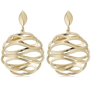 14k Yellow Gold Round Fancy Swirl Drop Earrings