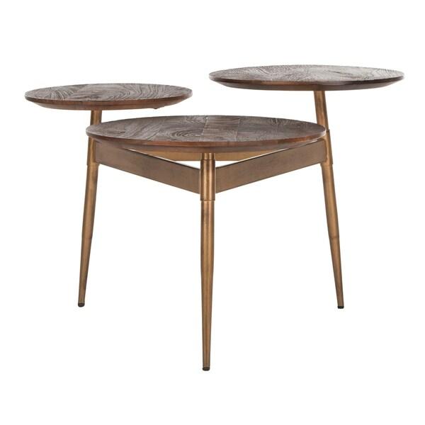 "Safavieh Ian 3 Circle Accent Table -Rustic Honey / Gold - 34"" x 30"" x 20.5"""