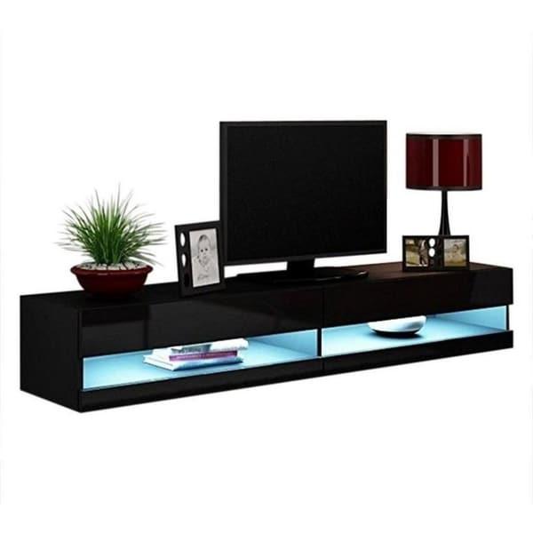 VIGO New High Gloss LED Black TV Stand
