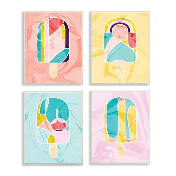 The Stupell Home Decor Collection Mod 80's Pastel Popsicles 4pc Canvas Art Set , 10x15, Proudly Made in USA
