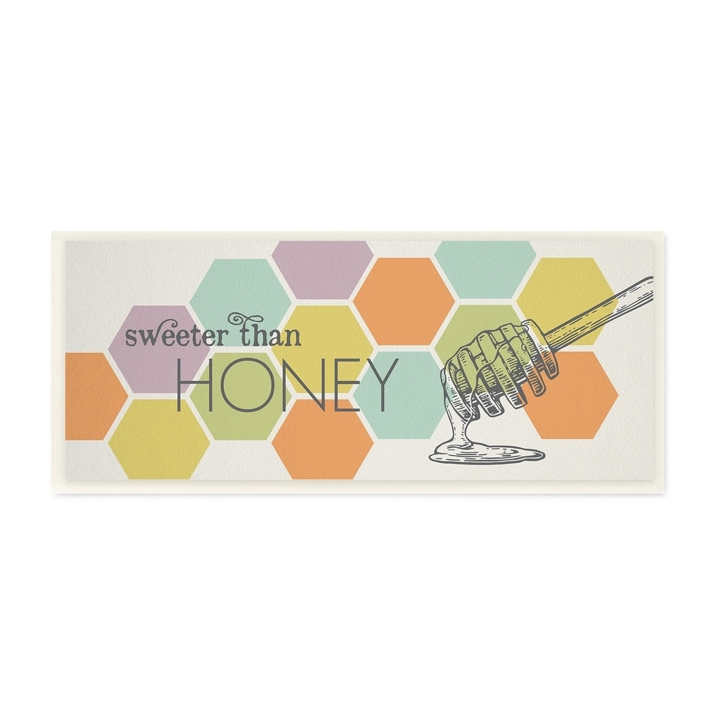 The Stupell Home Decor Collection Sweeter Than Honey Typography Wood Wall Art, 7x17, Proudly Made in USA - Multi-color - 7 x 17