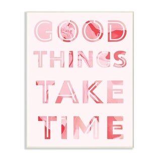 The Stupell Home Decor Collection Good Things Take Time Typography Wood Wall Art, 10x15, Proudly Made in USA - Multi-color