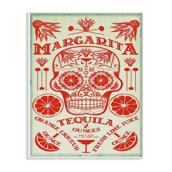 The Stupell Home Decor Collection Red and Blue Margarita Tequila Sugar Skull Wood Wall Art, 10x15, Proudly Made in USA