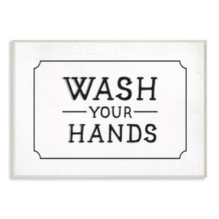 The Stupell Home Decor Collection Wash Your Hands Black and White  Typography Wood Wall Art, 10x15, Proudly Made in USA