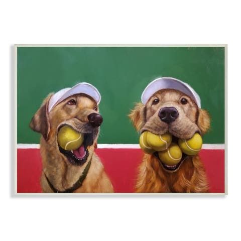 The Stupell Home Decor Collection Mouth Full Tennis Ball Retriever Dogs Wood Wall Art, 10x15, Proudly Made in USA - Multi-color