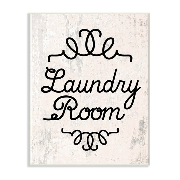 The Stupell Home Decor Collection Black on White Laundry Room Cursive Typography Wood Wall Art, 10x15, Proudly Made in USA