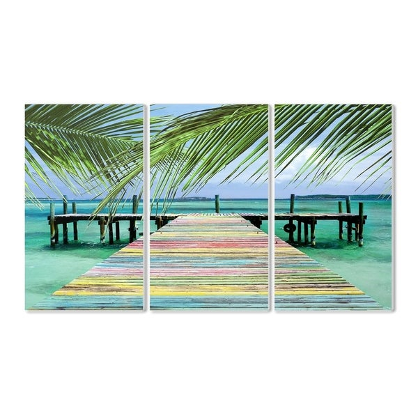 The Stupell Home Decor Collection Rainbow Dock Tropical Ocean with Palm Trees Triptych Wood Wall , 16 x 24, Proudly Made in USA