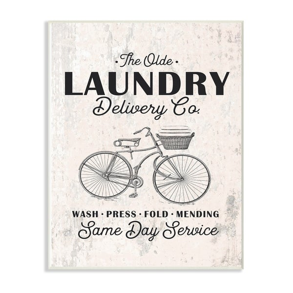 The Stupell Home Decor Collection Black on White Laundry Delivery Co Same Day Service Wood Wall Art,10x15, Proudly Made in USA