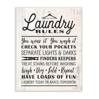 The Stupell Home Decor Collection Black on White Laundry Rules Typography with Icons Wood Wall Art, 10x15, Proudly Made in USA