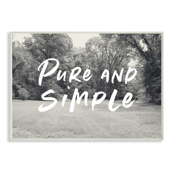 The Stupell Home Decor Collection Pure And Simple Farmhouse Yard Black Typography Wood Wall Art, 10x15, Proudly Made in USA