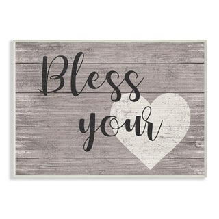 The Stupell Home Decor Collection Bless Your Heart Typography Wood Wall Art, 10x15, Proudly Made in USA - Multi-color