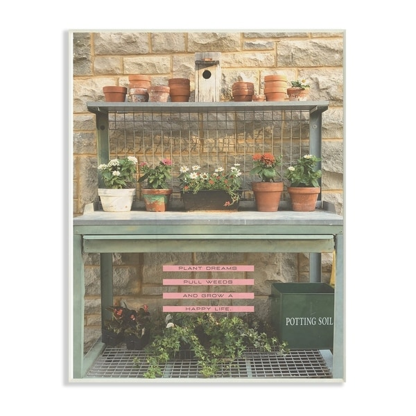 The Stupell Home Decor Collection Pink and Green Plant Dreams Garden Typography Wood Wall Art, 10x15, Proudly Made in USA
