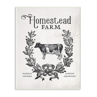 The Stupell Home Decor Collection Homestead Farm Family Farmhouse Crest Cow Wood Wall Art, 10x15, Proudly Made in USA