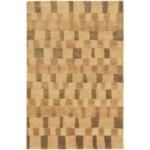 ECARPETGALLERY Hand-knotted Shangrila Brown, Tan Wool Rug - 6'0 x 9'3