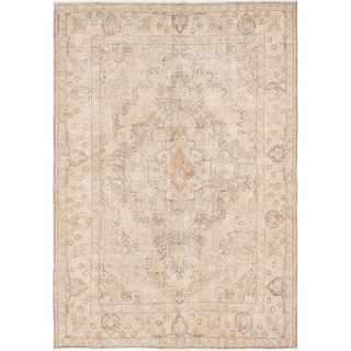 ECARPETGALLERY  Hand-knotted Color Transition Light Khaki Wool Rug - 6'6 x 9'0