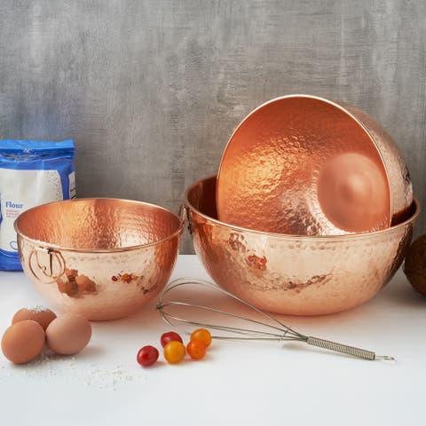 Solid Copper Stone Hammered Beating and Mixing Bowls - 3 Piece Set