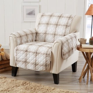 Great Bay Home Stain Resistant Plaid Printed Chair Furniture Protector