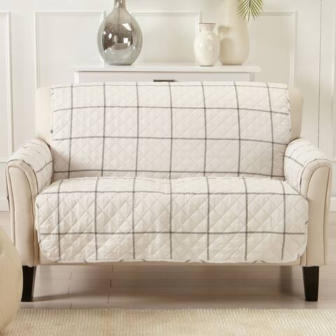 Great Bay Home Stain Resistant Window Pane Printed Loveseat Furniture Protector