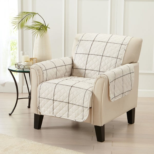 Great Bay Home Stain Resistant Window Pane Printed Chair Furniture Protector