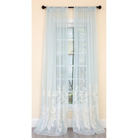 Manor Luxe Vivid Ocean Coral Embroidered Semi Sheer Single Curtain Panel