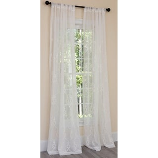 Manor Luxe Mohini Embroidered Sheer Rod Pocket Single Curtain Panel