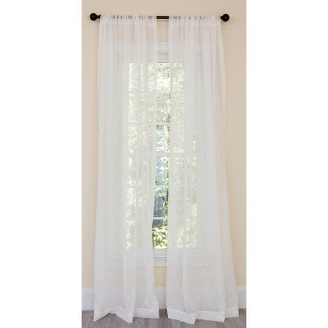 Manor Luxe Bonita Diamond Embroidered Sheer Single Curtain Panel