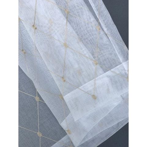 Manor Luxe Bonita Diamond Embroidered Sheer Single Curtain Panel