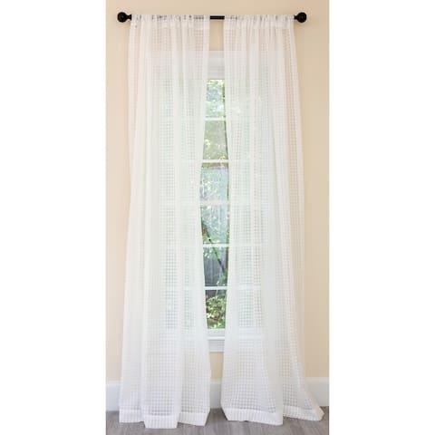 Manor Luxe Bonita Plaid Sheer Rod Pocket Single Curtain Panel