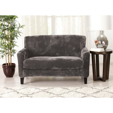 Great Bay Home 2 Piece Solid Velvet Plush Strapless Loveseat Slipcover