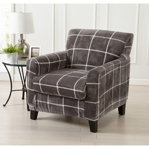 Great Bay Home 2 Piece Printed Velvet Plush Strapless Chair Slipcover