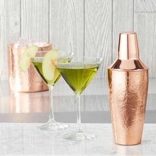 Stone Hammered Solid Copper Cocktail Shaker, 30 Oz