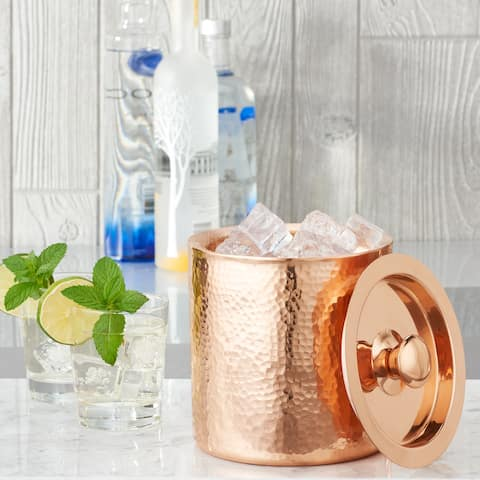 Stone Hammered Solid Copper Double Walled Ice Bucket, 1.5 Qt