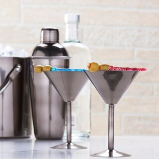 Gunmetal Martini Glasses, Set of 2, 6 Oz.