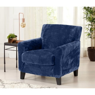 Great Bay Home 2 Piece Solid Velvet Plush Strapless Chair Slipcover