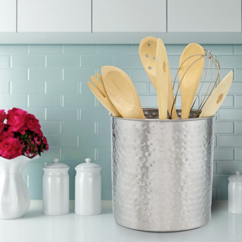 "Jumbo Hammered Brushed Nickel Utensil Holder, 7.5"" H x 7"" Dia."