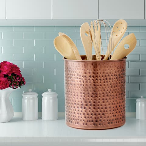 "Jumbo Hammered Antique Copper Utensil Holder, 7.5"" H x 7"" Dia."