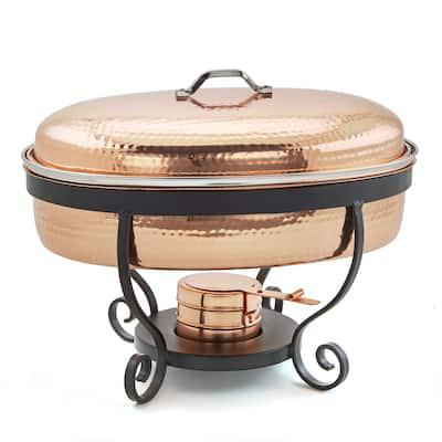 "16.5 "" x 141/4"" x 13?"" Hammered Copper Chafing Dish, 6 Qt."